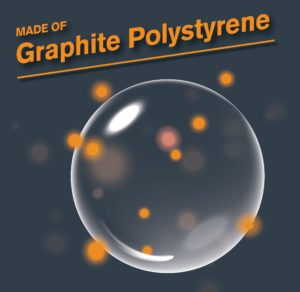 Graphite Polystyrene graphic image with bubble