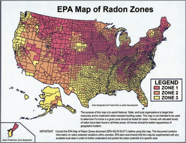 High levels of Radon In The US